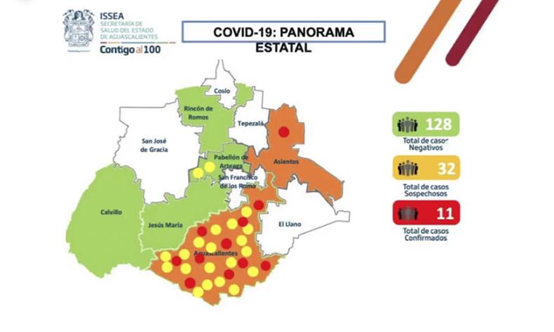 Las cifras fueron difundidas por las autoridades sanitarias de Aguascalientes.
