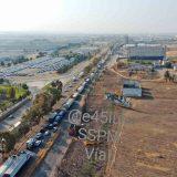 Imagen aérea del caos vial que provocó el paro de transportistas.